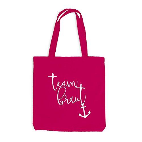 Jutebeutel - Junggesellenabschied Maritim Team Braut Anker - JGA Style Pink