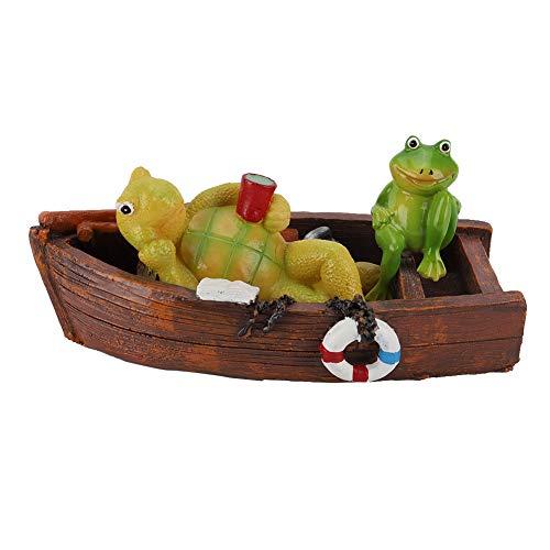 Duokon Swimmingpool-Teich, der Tierwasser-Verzierungs-Badewannen-Garten-Dekor-Figürchen-hölzernes Boot gemächlich gelbe Schildkröten-Fisch-Brunnen-Oberfläche schwimmt (Schildkröte Garten Dekor)
