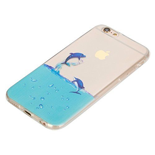 iPhone 6 Hülle, iPhone 6S Hülle, Gift_Source [ Panda ] Hülle Case Transparent Weiche Silikon Schutzhülle Handyhülle Schutzhülle Durchsichtig TPU Crystal Clear Case Backcover Bumper Case für iPhone 6s/ E1-Delphin