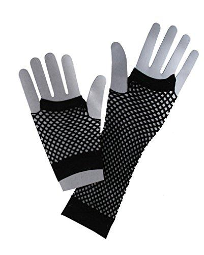 Schwarze Netzhandschuhe im 80er Jahre Stil (Total 80er Jahre Kostüm)