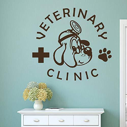 yaoxingfu Pet Veterinary Services Logo Wandaufkleber Medizin Veterinary Clinic Design Wandtattoo Pet Shop Katze Hund Wand Vinyl Wandbild weiß 62x57cm -