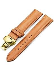istrap 21mm correas de reloj de piel hecha a mano pulsera Band botón de presión de cierre de implementación de Golden Marrón