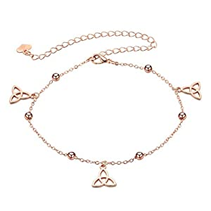 Aszhdfihas Strand Fußkettchen Kette Dreieckige Fußkettchen Legierung Fußkettchen Kette Perle Ankle Armband für Frauen und Mädchen Hochzeitsdekoration