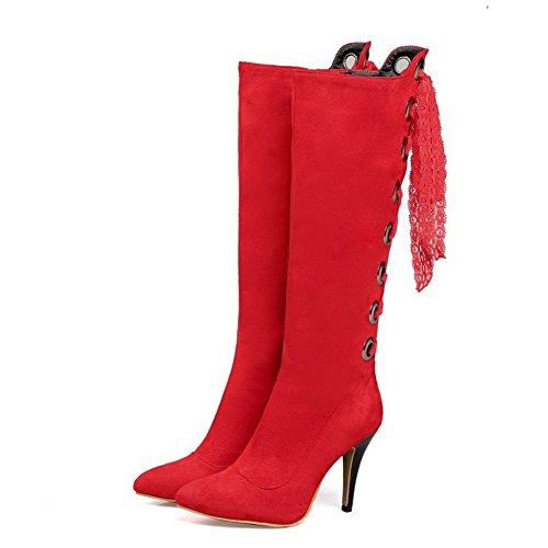 AllhqFashion Damen Spitz Zehe Hoher Absatz Hoch-Spitze Rein Stiefel mit Lesbie Rot