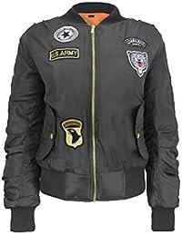 Ladies MA1 Classic Padded Bomber Jacket Womens Vintage Zip Up Biker Coat Stylish