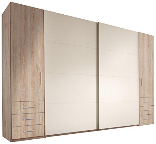 Stella Trading Store 4-türiger Kleiderschrank, Holz, san remo/weiß, 58 x 312 x 226 cm