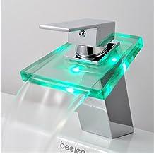 Auralum® Grifo de Lavabo Grifo Moderno Cascada Baño Cuarto de baño Cocina LED RGB Cambio Color (tres colores) Cromo Plateada Latón y Cristal Diseño