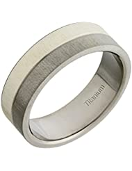 Theia Ring Inlay Flach Court 7 mm Titan und Silber