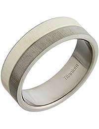 Theia Unisex-Ring Titan und Silber Inlay Flach Court 7mm