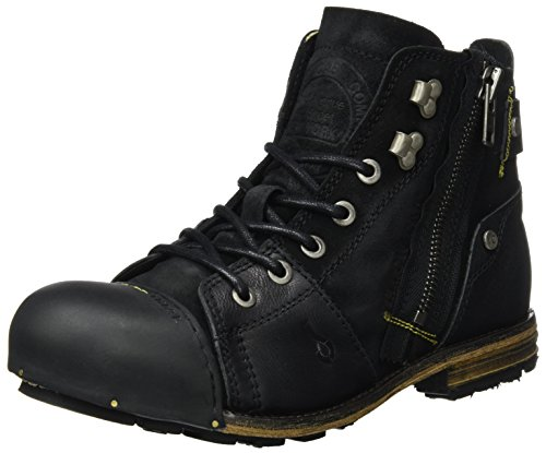 Yellow Cab Herren Industrial M Biker Boots, Schwarz (Black), 49 EU