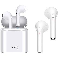 Auriculares inalámbricos HD Auriculares estéreo Auriculares Bluetooth con micrófono Auriculares intrauditivos Auriculares Auriculares deportivos Caja de carga Compatible con iPhone de Apple X 8 7 6 Plus Samsung