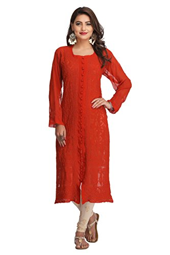 ADA Hand Embroidered Lucknow Chikan Ethnic Wear Faux Georgette Kurti A183531