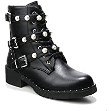 8c5cea3343d025 HERIXO Damen Schuhe Stiefeletten Schnallen Verzierung Perlen Nieten Flache  Reissverschluss halbhoche Schnürboots Schnürer Military Boots