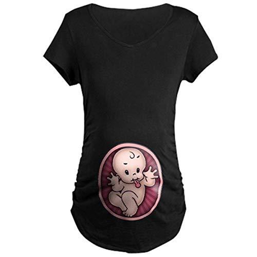 Q.KIM Camiseta de Maternidad Elasticidad Suave Embarazada Camiseta Premamá T-Shirt bebé Divertido Estampado - para Mujer (M, Baby,Negro)