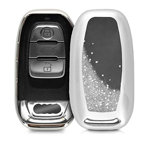 kwmobile Autoschlüssel Hülle für Audi - TPU Schutzhülle Schlüsselhülle Cover für Audi 3-Tasten Autoschlüssel Keyless Silber Metallic Silber