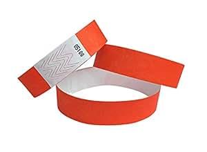 100 bracelets événementiels - boite de nuit tyvek - couleur de votre choix (orange)