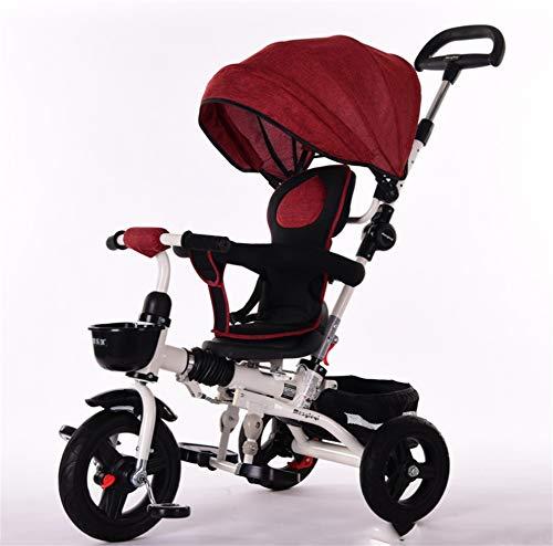 Carrito de bebé Coche de Juguete Alto Paisaje Bicicleta Triciclo Carrito de bebé 1-5 años de Edad Portátil Cochecito de bebé Tres Rondas Coche de Mascotas, Red