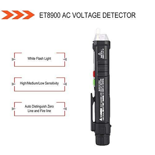 UHAPY ET8900 AC Spannungsprüfer Berührungsloser Tester Stift Volt Meter Sensor Elektrischer Teststift 12V bis 1000V Empfindlichkeitseinstellung - Schwarz Berührungsloses High-voltage Detector