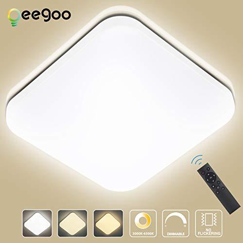 Oeegoo 24W Regulable LED de Luz de Techo Cuadrado, Lámpara de Techo LED de 1680 Lúmenes RA>80 Cambio...