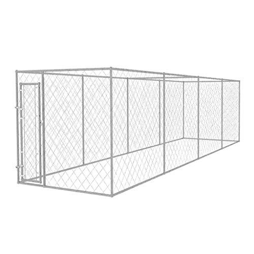 vidaXL Canile da Esterno 8x2 m Cuccia Protezione Recinto Recinzione per Cani
