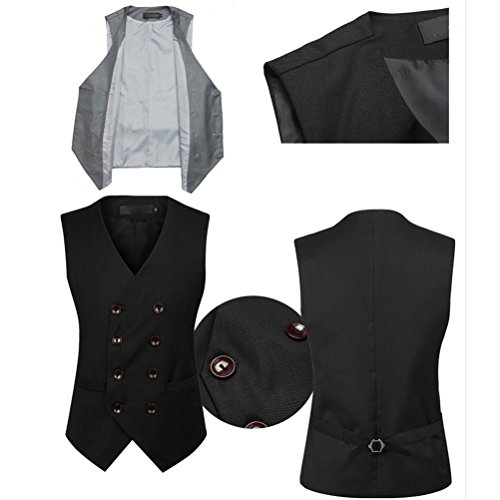 Zhhlinyuan gute Qualität Mens Slim Fit Double Breasted Suit Vest Sleeveless Jacket Waistcoat Black
