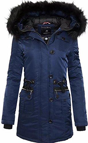 Marikoo Elle Damen Winter Jacke Stepp Parka Mantel Winterjacke warm gefüttert (L, Blau)