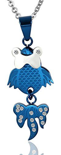 Acier Inoxydable Colliers, Femmes Pendentif Chaîne Nage Libre Orfish Cz 3 Couleur Epinki Bleu