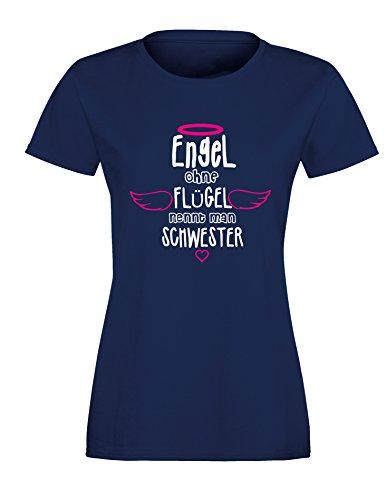 Engel ohne Flügel nennt man Schwester - Damen Rundhals T-Shirt Navy/Weiss-Neonpink