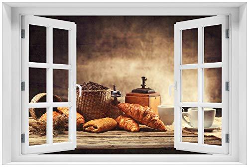 Rustikale Französische Türen (Wallario selbstklebendes Poster - Französisches Frühstück mit Café und Croissants in Premiumqualität, Größe: 61 x 91,5 cm (Maxiposter))