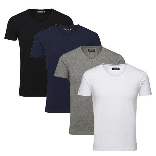 JACK-JONES-Herren-T-Shirt-Basic-V-neck-Tee-SS-Noos-Einfarbig-GreLFarbe4er-Pack-V-Neck-MIX