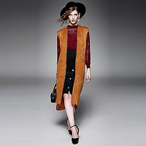 ZH AH Chaqueta de punto flojo s suéter sin mangas de las mujeres abrigo de lana de las mujeres s larga , yellow ,