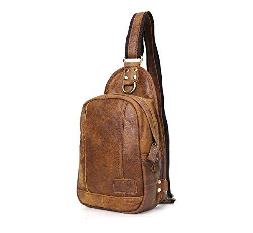 Preisvergleich Produktbild JOYIR Herren Echtes Leder Brust Bag Schulter Nachricht Tasche Crossbody Sling für Laufen Sport Wandern