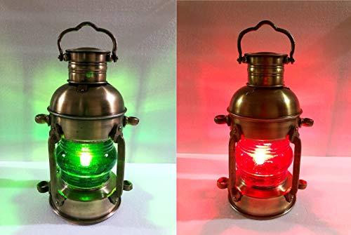 Nautische Messing-Laterne Elektrische rot-grüne Lampe, dekorative Hängelaterne Marine Schiffslampe Home Decor Set von 2 Stück (Messing Laterne Nautische)