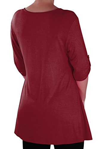 EyeCatch - Eva Aux femmes Bouton Avant Aavec Encolure Dégagée Tunique Grande Taille Dames T-shirt Long Tops Vin