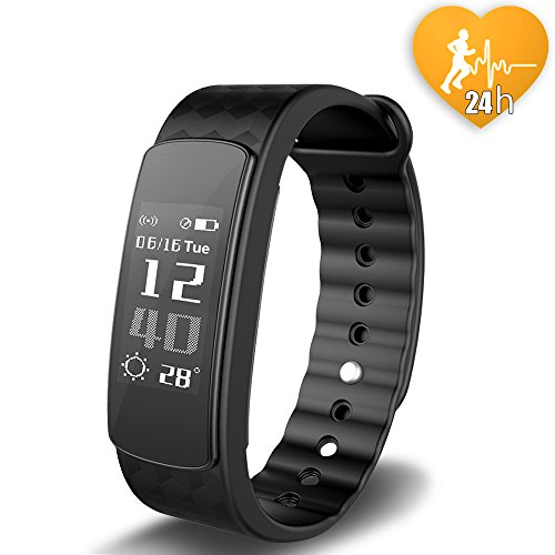 JoyGeek Fitness Tracker, Heart Rate Monitor, Bluetooth Smart Watch with Weather Report Sleep Monitor Pedometer Calorie Counter and Call/SMS Reminder for iPhone 6/6 plus/7/7 plus Samsung S7/note 7/S8