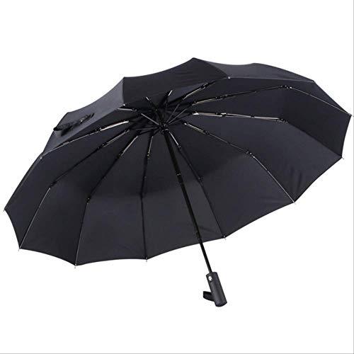 Mhsm Regenschirm für Herren, automatischer Regenschirm, weiblich, Winddicht, Edelstahl, Regenschirm, Damen, faltbar, groß, für den Außenbereich, Paraguas, Schwarz