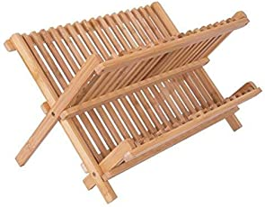 Sterling Bamboo Foldable Dish Rack Perfect Plate Bowl Double Drainer Wooden Utensil Holder for Kitchen