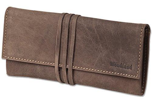 Woodland® - Schreibgeräte-Mappe aus weichem, naturbelassenem Büffelleder in Dunkelbraun/Taupe