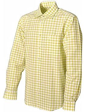 Trachtenhemd Carmelo langarm Mischfarbe gelb/grün Karo Almsach