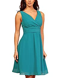 My Evening Dress - Chiffon Cocktailkleid knielang mit V-Ausschnitt Damen