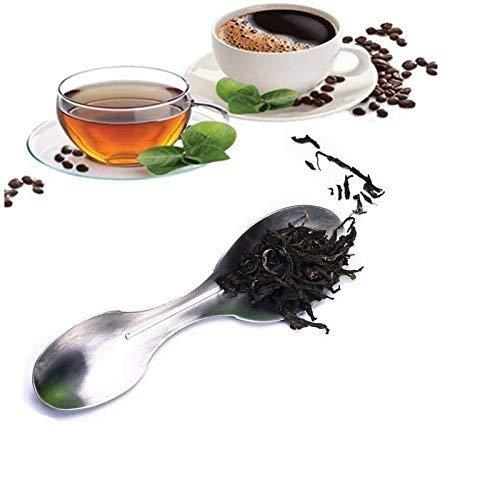 Edelstahl Blätter Scoop, 2in 1Kaffee Tee Löffel mit 2MESS Schaufeln (1 8. Mess-löffel)