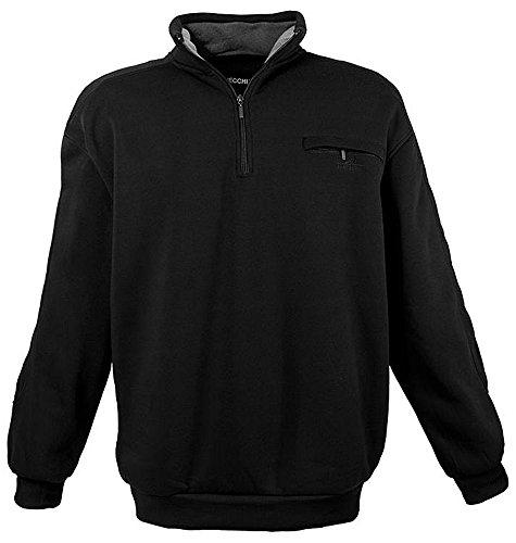 Übergrössen !!! Schickes Sweatshirt mit Troyerkragen und Zipper LAVECCHIA in Schwarz LV-2100 7XL