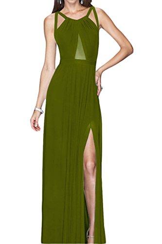 Stile Rueckenfrei kraftool Chiffon Ivydressing donna dell'abito Bete vestito da sera festa Verde oliva