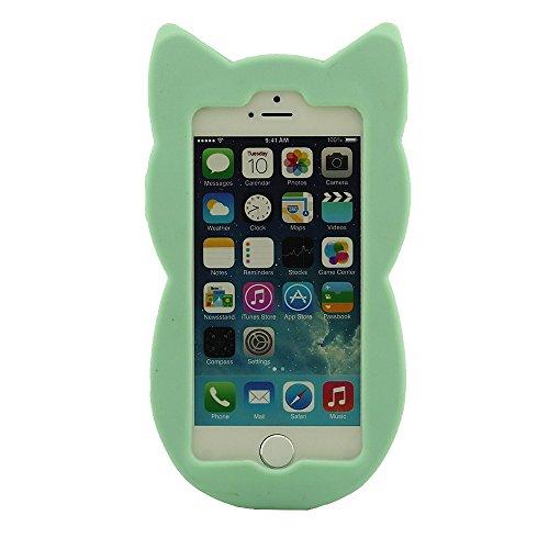 Niedlich Tier Stil iPhone 5 5S Hülle Case ( 3D Schön Katze ), Weiche Silikon Gel Material Protective Phone Case Stoßfest, Skin Cover Handy Tasche schutzhülle für iPhone 5 5S 5C 5G Cyan