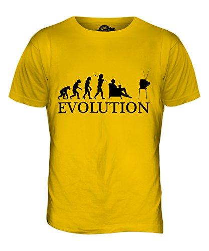 CandyMix Televisione Evoluzione Umana T-Shirt da Uomo Maglietta Giallo Scuro