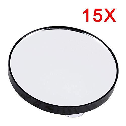 RoadRoma Mini Espejo Redondo para maquillar 15X Espejo de Aumento con Dos ventosas Negro