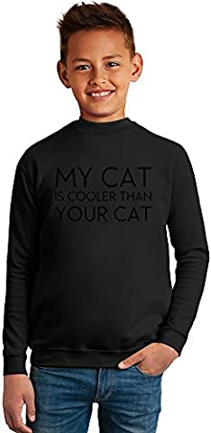 My Cat Is Cooler Than Your Cat Funny Slogan Superb Quality Boys Sweater by BENITO CLOTHING - 50% Cotton & 50% Polyester- Set-In Sleeves- Open End Yarn- Unisex for Boys and Girls 6-7 years
