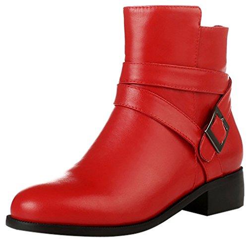 ELEHOT Donna Elefamiliar tacco western 3.5CM Leather Stivali, rosso,