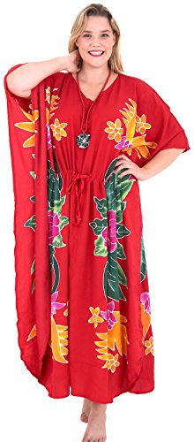 La Leela beachwear maillots de bain rayonne soir aloha nightwear caftan robe lâche le rouge des femmes