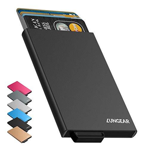 LUNGEAR Porte Carte de Crédit RFID Blocage Mince Porte Carte Automatique Pop-up Étui de Carte Metallique pour Femme et Homme Convient 4-6 Cartes (Noir)